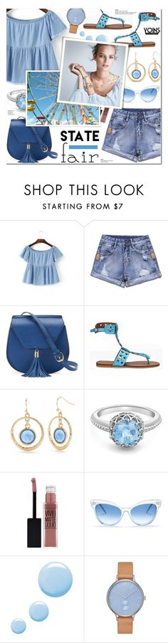 """""""Yoins 3 - Summer Date: The State Fair"""" by anyasdesigns ❤ liked on Polyvore featuring Yoki, New Directions, London Road, Maybelline, Wildfox, Topshop, Mix & Match and Skagen"""