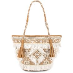 SHASHI Belly Tote (490 RON) ❤ liked on Polyvore featuring bags, handbags, tote bags, fringe tote, white tote bag, hand bags, embroidered tote bags and fringe tote bag