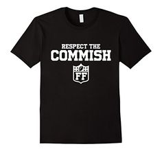 Men's Respect The Commish Fantasy Football T-Shirt Commissioner XL Black