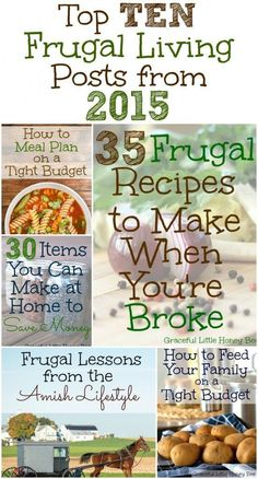 Find TONS of money saving tips in this list of the BEST 10 Frugal Living Posts from 2015 on http://gracefullittlehoneybee.com