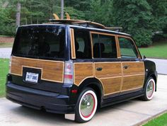 "This is my #dreamsurfwagon Custom Scion xB with woodgrain paneling ""Salty Dawg"". I would totally get down with a woodgrain"