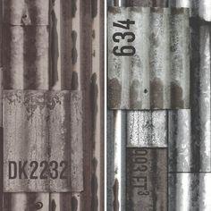 NEW MURIVA CORRUGATED IRON PATTERN FAUX METAL EFFECT METALLIC MURAL WALLPAPER