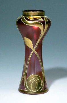 Red and Gold Art Nouveau Vase.