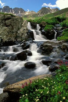 Cascade in American Basin high in the San Juan Mountains of Colorado near Lake City and Silverton Beautiful Waterfalls, Beautiful Landscapes, Wyoming, Places To Travel, Places To See, Lake City, Vacation Destinations, Vacation Travel, Places Around The World