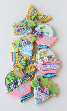 May Day basket cookies with posies and butterflies by Julia M. Usher, www.juliausher.com
