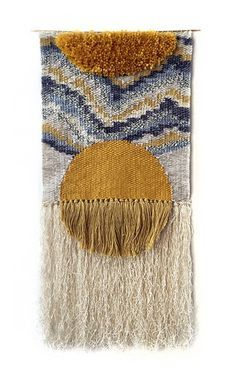 SALE Aten Tapestry Wall hanging tapestry woven by HeddleAndNeedleAten weaving by Rachel Gottesman of Heddle & Needle.Learn to Weave: Tips and Advice from Etsy Experts - Etsy JournalImpara a Weave: suggerimenti e consigli da Etsy EspertiBeginner weaving ti Weaving Textiles, Weaving Art, Weaving Patterns, Tapestry Weaving, Loom Weaving, Hand Weaving, Weaving Designs, Weaving Wall Hanging, Tapestry Wall Hanging