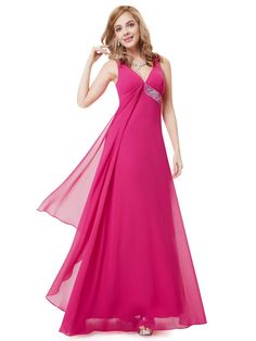 Rose Red V-neck Flowy Ribbon Sequined Waist Long Party Dress