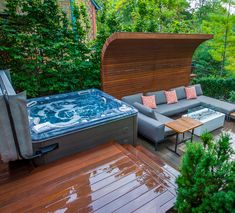 Love this unique deck design; and the hot tub that goes along with it!