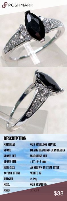 Onyx Sterling silver simulated diamond ring PRETTY 1 CT BLACK ONYX marquise (man made) stamped 925 STERLING SILVER RING, simulated diamonds SIZE 5-10. Comes with ring box Jewelry Rings