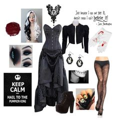 """""""Female cosplay jack skellington"""" by ruescgj ❤ liked on Polyvore featuring Charlotte Russe"""