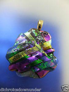 Handmade Dichroic Glass Pendant + Free Cord * EMERALD & PURPLE & GOLD…