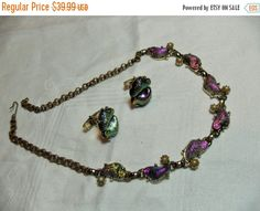 SALE Thermoset Foil Necklace cuff links set by GingersLittleGems