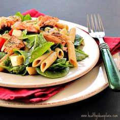 Pesto Pasta Salad with Grilled Salmon Recipe on Yummly