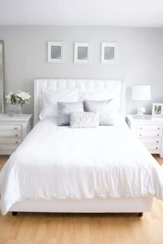 Our master bedroom room tour, featuring a French Country and Farmhouse design with distressed white accent furniture, white flowers, and a tufted headboard. All home decor and accents at an affordable price, while still looking stunning. Affordable Furniture | Home Decor | Home Design | Room Update | Bright | Natural Light | Distressed White | Rustic | White Washed | Weathered Look | DIY | Style | Cozy | Refresh | Spring | Comforting | Calming | Inspiration | How to |