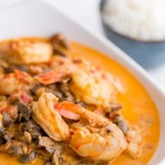 Shrimp and Mushrooms in a Garlic Bisque Sauce