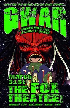 Original concert poster for Gwar at The Fox Theatre in Boulder, CO in 2012.  11x17 inches on card stock. Art by Mark Serlo.