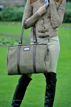 love riding boots and skin tight faun breeches, equestrian style, oversized tweed bag, barbour, chunky knits, arran knit, leather, buckles