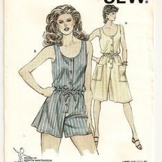 A Sleeveless, Scoop Neck, Front Button Culotte Romper and Dress Pattern