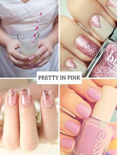 Pretty pink nails - glitter and gorgeous!  http://onefabday.com/nail-art-summer-2013/