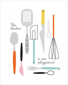 Poster keukenspullen van Isa Form met de tekst This kitchen is our playground. Deze poster heeft een afmeting van 30,5 x 40 cm.