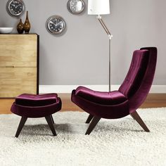 INSPIRE Q Albury Purple Velvet Lounging Chair with Ottoman | Overstock.com Shopping - The Best Deals on Living Room Chairs