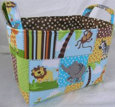 Storage Bin - Zoo Animals - Storage Bin - Organizer - Storage Basket - Diaper…
