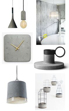 Trend: betonlook Lamp Aplomb voor Foscarini Lamp Nud Concrete Basic Behang concrete wallpaper , Klok Classic Wa...