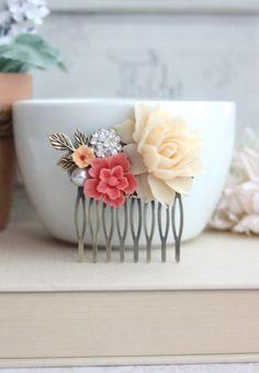 Bridal Hair Comb. Ivory Rose Coral Sakura Vintage by Marolsha