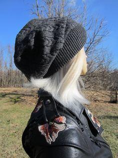 thick beanie small slightly Slouchy Beanie hat baggy handmade crochet Slouchy hat in soft black merino wool