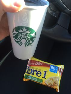 Tea with milk and lemon Fibre 1 bar for drive to work.