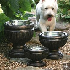 DIY Dog Feeding Station Ideas Your Pet Will Like >> Put dog bowls in planters for a nicer look on the patio ❤ See more: http://fallinpets.com/diy-dog-feeding-station-ideas-pet-will-like/