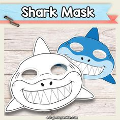 Printable Shark Mask Template - Must do Crafts and Activities for Kids , Shark Mask, Fish Mask, Animal Masks For Kids, Mask For Kids, Shark Activities, Activities For Kids, Shark Craft, Kids Party Games, Shark Games For Kids