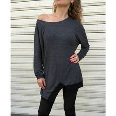 Asymmetrical Loose Long Sleeves Tunic Top Women Casual Dress Loose... ($60) ❤ liked on Polyvore featuring tops, blouses, black, women's clothing, long sleeve tops, loose fitting tops, cotton blouse, long sleeve asymmetric top and gray blouse