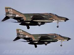 Two USAF F-4E Phantoms come in to land.