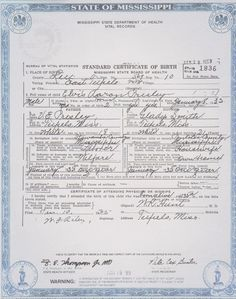 This is Elvis Presley's birth certificate. You could use your baby's.