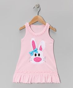 Take a look at this Baby Pink Bunny Ruffle Dress - Infant, Toddler & Girls by Zazzy Zebra on #zulily today!