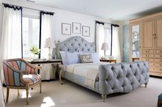Bedroom Design, Traditional Bedroom With Captivating White Bedroom Curtain Ideas Also Elegant Queen Size Bed With Pale Cornflower Blue Colors And Light Gray Rug Color And Antique Nightstand Design: Super Beautiful Bedroom Curtain Ideas Home, Curtains Bedroom, Bedroom Inspirations, Bed, Traditional Bedroom Decor, Bedding Master Bedroom, Bedroom Decor, Beautiful Bedrooms, Blue Bedroom Design