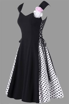 $22.01 Retro Polka Dot Flower Embellished Lace Up Dress - Black