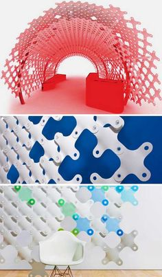 Space Dividers via 3 DIY Modular Partition Wall Systems Interactive Walls, Space Dividers, Diy Room Divider, Digital Fabrication, Fabric Stamping, Modular Design, Interior Exterior, Interiores Design, Design Elements