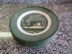 Colonial Homestead 8 dinner plates green and white vintage china- Royal-nice condition by HeathersCollectibles on Etsy