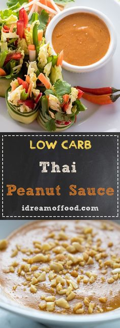 This low-carb peanut sauce is only 1 net carb per serving and is quick and easy to make. You're going to love this Satay Sauce! Great on grilled chicken, chicken wings and as a dip for summer rolls. How about Pad Thai? Keto Sauces, Low Carb Sauces, Low Carb Recipes, Vegan Sauces, Healthy Recipes, Healthy Food, Healthy Eating, Yummy Food, Easy Thai Recipes