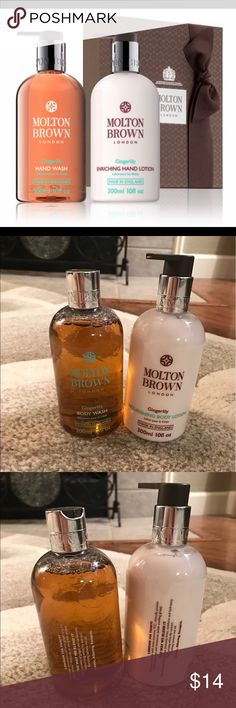 Molten Brown Lotion and wash set Molten Brown Lotion and Body Wash set in 'Gingerlilly'. Smells amazing and the lotion is just creamy and thick enough for full coverage that you dont have to reapply. Please ask if you have any questions! Does not come with box. Makeup