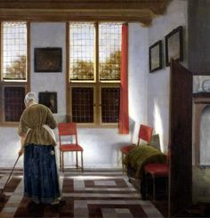 PIETER JANSSENS ELINGA ( Brugge 1623 - Amsterdam 1682 ). ROOM IN A DUTCH HOUSE. oil on canvas. 61,5 × 59 cm. A variant of this painting is in Musée du Petit Palais at Paris and another was formerly in the Rickoff Collection at Paris. Bibliografia : the painting was long attribuited to Pieter de Hooch; 1912, Lipgart, with attribuition to Janssen. Provenance : 1912, St. Petersburg, acquired by Hermitage from the P.S.Stroganov Collection .St. Petersburg. Hermitage. Inv. No. 1013.