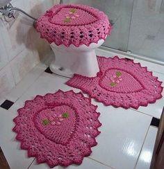 juego de baño corazón rosa