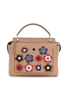 Fendi .COM Medium Floral Leather Satchel Bag 7d5bda09b6381