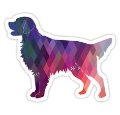 Flat-Coated Retriever and Golden Retriever Geometric Pattern Silhouette by TriPodDogDesign
