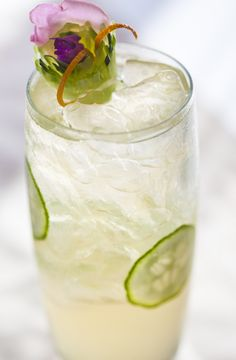 Cool Collins with Square One Cucumber. Garnish by Victoria D'Amato-Moran, Cent'Anni Spirit Syrups.  Recipe: http://squareoneorganicspirits.com/TownSquare/TS_MixologyArt/TS_cucumbercocktails.html