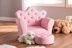 Baxton Studio Ava Modern & Contemporary Pink Faux Leather Kids Armchair & Footrest Set - Wholesale Interiors comfort and style with the clever and stylish Ava armchair and footrest set. Constructed from rubberwood for durabil Little Girl Bedrooms, Big Girl Rooms, Girls Bedroom, Bedroom Decor, Girl Toddler Bedroom, 6 Year Old Girl Bedroom, Bedroom Ideas, Kids Armchair, Unicorn Room Decor