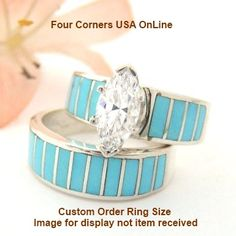 Four Corners USA Online - Custom Order Size Turquoise Wedding Engagement Ring Set Ella Cowboy Custom Order-ECWS-T, $240.00 (http://stores.fourcornersusaonline.com/custom-order-size-turquoise-wedding-engagement-ring-set-ella-cowboy-custom-order-ecws-t/)