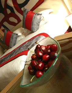 Amenity - fruit bowl with cherried. Glass Studio for Radisson Blu hotel in Doha www.the-glass-co.com